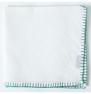 Serviette de table en lin blanc à coutures vertes