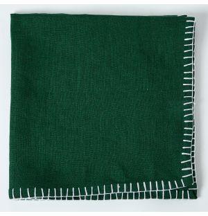 Serviette de table en lin vert à coutures blanches