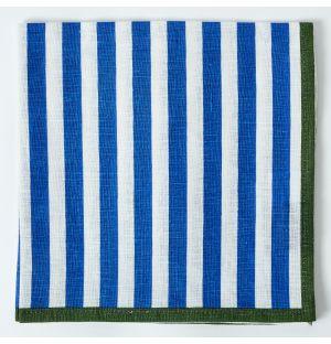 Serviette de table en lin à rayures bleues