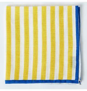 Serviette de table en lin à rayures jaunes
