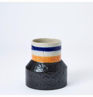 Vase bleu, jaune et noir Speckle