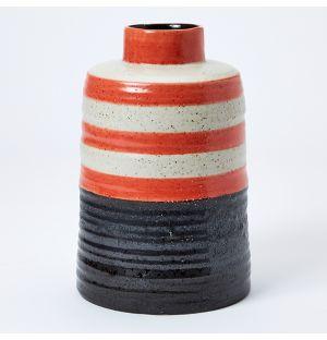 Vase rouge, noir et blanc Speckle