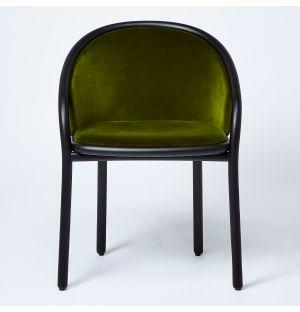Chaise Latis en frêne noir et velours vert Duro