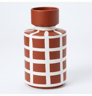 Vase terracotta Grid