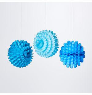 Ensemble de 3 décorations en papier alvéolé bleu – Small