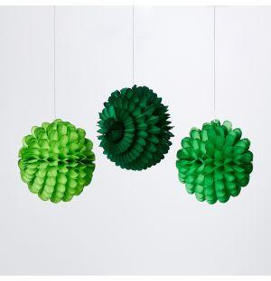 Ensemble de 3 décorations en papier alvéolé vert