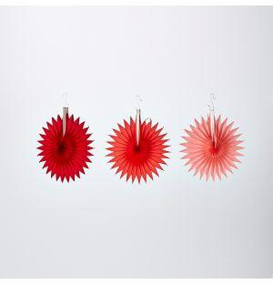 Ensemble de 3 rosaces en papier rouge
