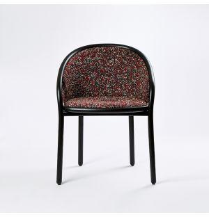 Chaise Latis en frêne noir et en tissu rouge Atom - Modèle d'exposition