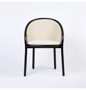 Chaise Latis en frêne noir et en tissu crème Phlox - Modèle d'exposition