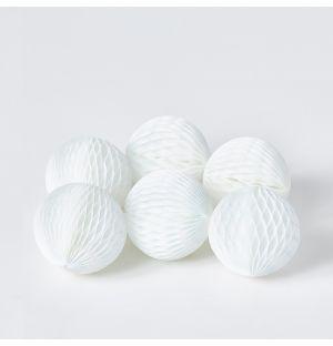Lot de 6 décorations en papier blanc - Small