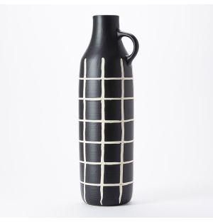Vase noir et blanc Sgraffito - Tall