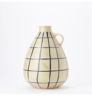 Vase rond noir et blanc Sgraffito