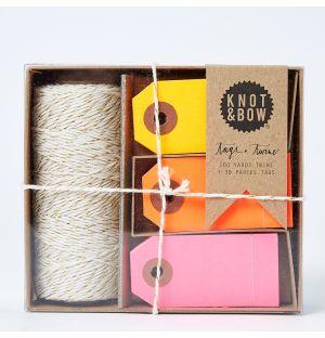 Kit ficelle et étiquettes Tag + Twine - rose, orange, jaune