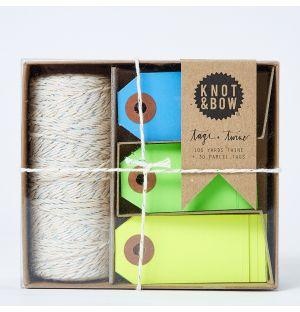 Kit ficelle et étiquettes Tag + Twine - jaune, vert, bleu