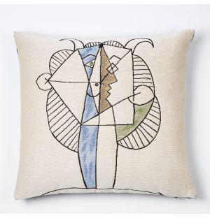 Housse de coussin Picasso – Faune jaune et bleu jouant de la diaule – 45 x 45 cm