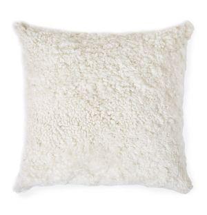 Coussin en peau lainée blanche – 45 x 45 cm