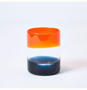 Verre ombré orange et bleu