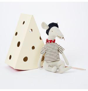 Peluche souris gris clair et sa petite boîte à fromage