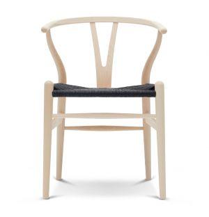 Chaise Wishbone CH24 - frêne laqué et corde noire