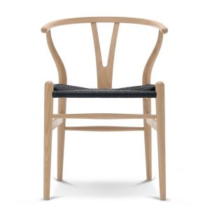 Chaise Wishbone CH24 chêne savonné / Assise corde noire - Carl Hansen