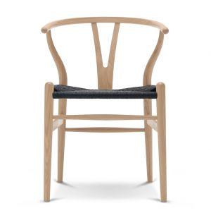 Chaise Wishbone CH24 assise tressée noire