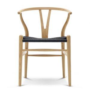 Chaise Wishbone CH24 - chêne laqué et corde noire