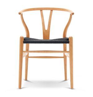 Chaise Wishbone CH24 - cerisier laqué et corde noire