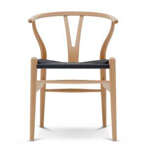 Chaise Wishbone CH24 - bouleau laqué et corde noire