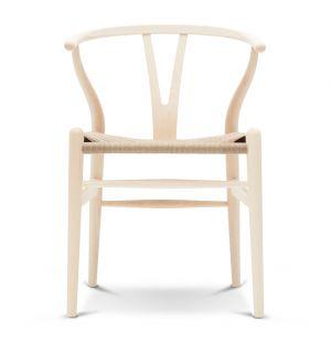 Chaise Wishbone CH24 frêne blanc laqué et corde naturelle