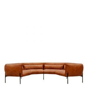 Canapé d'angle en cuir camel Otto