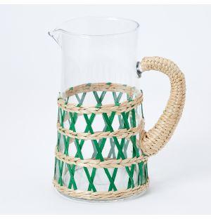 Carafe tressée vert menthe à l'eau Reed - 2L