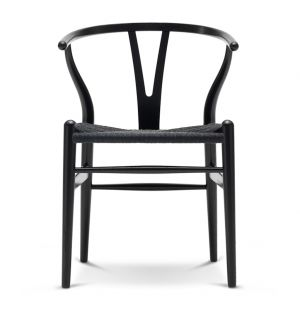 Chaise Wishbone CH24 en chêne noir et assise en corde noire