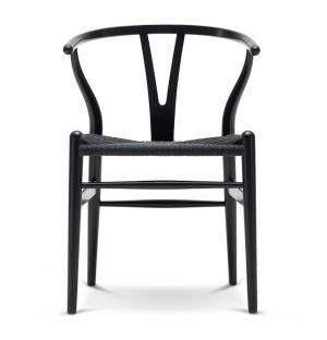 Chaise Wishbone CH24 en frêne noir et assise en corde noire