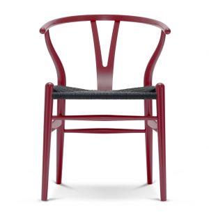 Chaise Wishbone CH24 hêtre rouge japonais / Assise corde noire - Carl Hansen