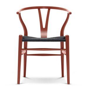 Chaise Wishbone CH24 en hêtre rouge brun et assise en corde noire