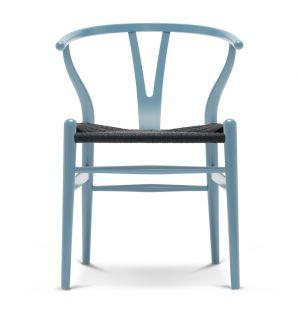 Chaise Wishbone CH24 en bois coloré et assise en corde noire