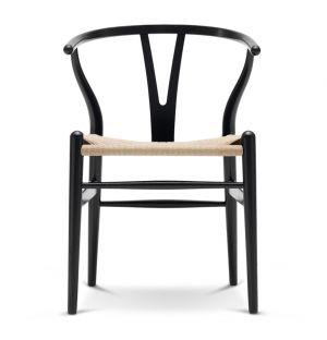 Chaise Wishbone CH24 en frêne noir et assise en corde naturelle