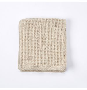 Serviette visage en tissu gaufré beige