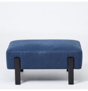 Ottoman en lin bleu Sloan - Ancien modèle d'exposition