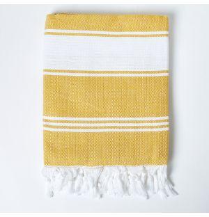Foutas jaune & blanche - 170x100cm