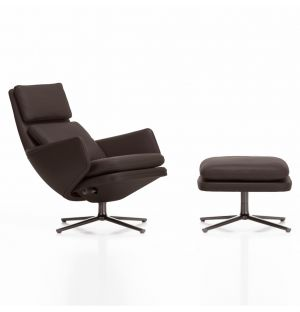 Fauteuil Grand Relax et ottoman – piètement marron et assise basse