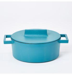 Faitout en terre cuite bleu