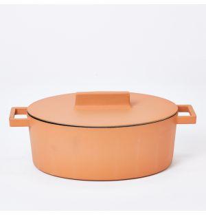 Faitout en terre cuite orange