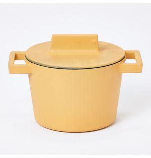 Faitout en terre cuite jaune