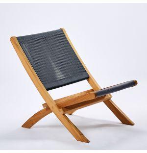 Chaise longue pliante en teck et corde anthracite