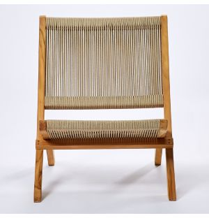 Lounge chair en corde et teck