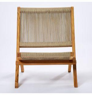 Lounge chair en corde et teck