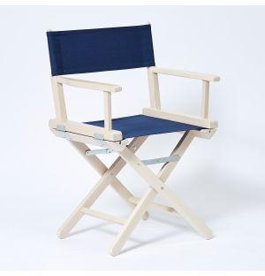 Chaise pliante en hêtre blanc et marine