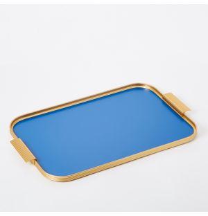 Plateau en aluminium brossé bleu Conran - 42 x 30 cm