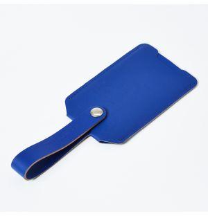 Étiquette à bagage en cuir recyclé bleu